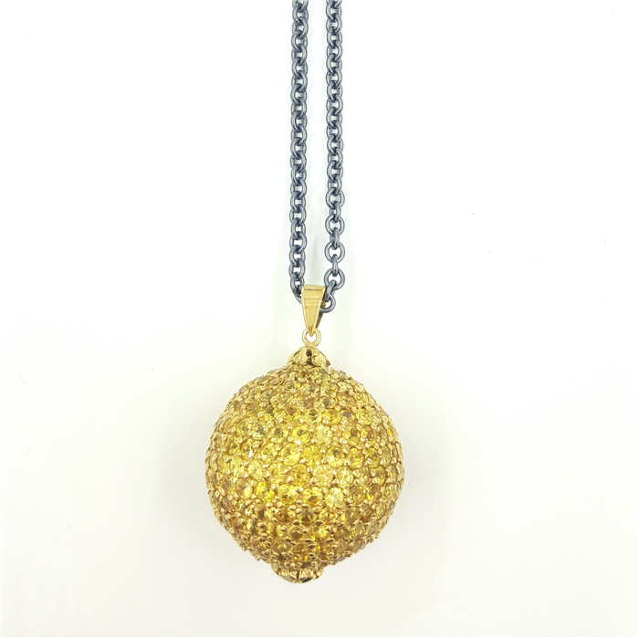 Yellow Sapphires Disco Pendant Necklace