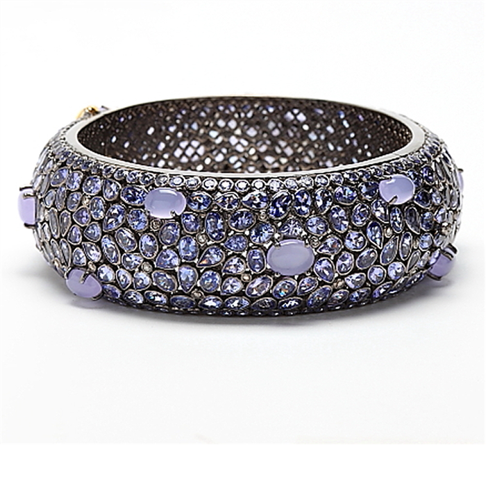Tanzanite and Chalcedony Bangle
