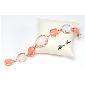 Ethiopian Opal and Coral Bracelet