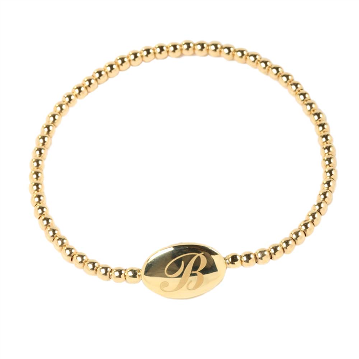 Gold Initial Stretch Bracelet