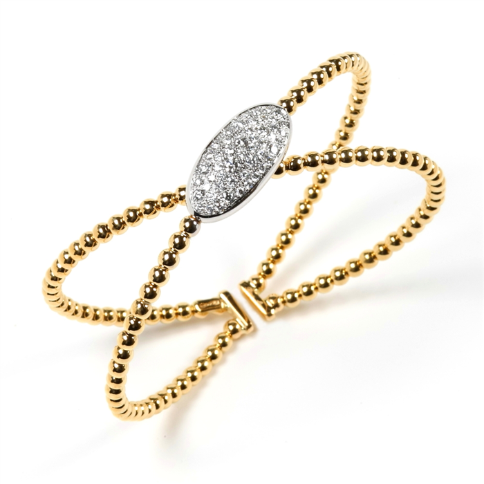 """X"" Gold and Diamond Bangle"