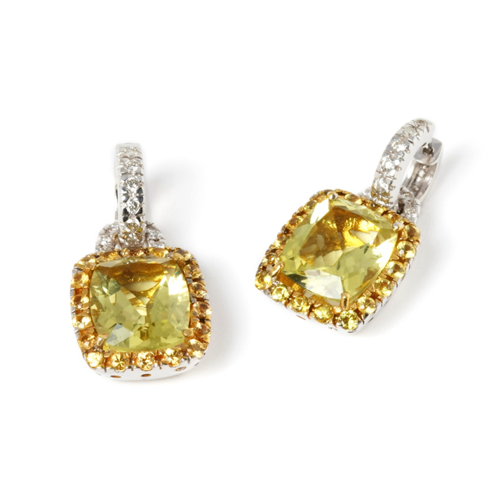 yELLOW SAPPHIRE AND CITRINE EARRINGS
