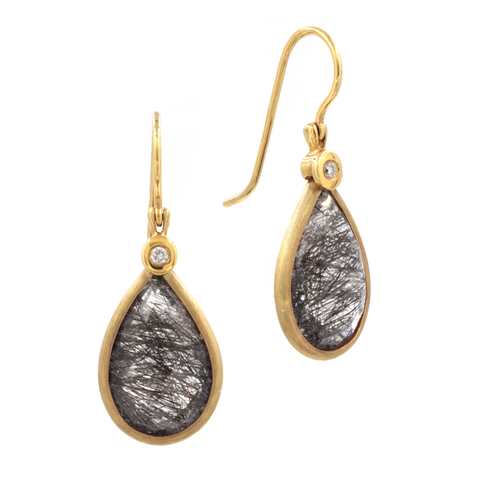 Black Quartz Drop Earrings