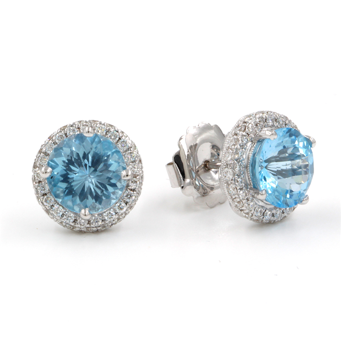 BLUE TOPAZ AND DIAMOND BUTTON EARRINGS