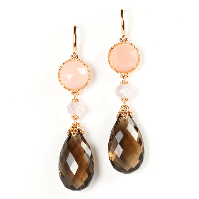 Rose Quartz and Smoky Topaz Earrings