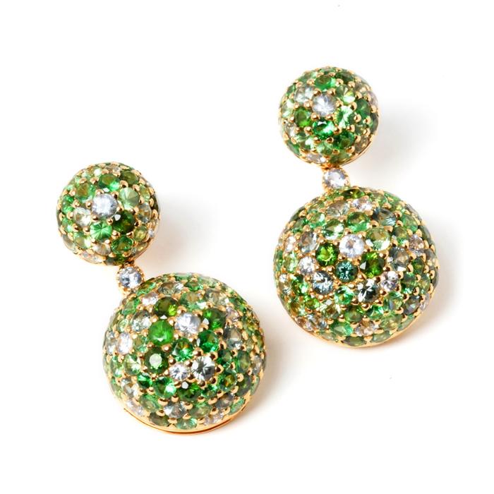 Studded green gemstone earrings