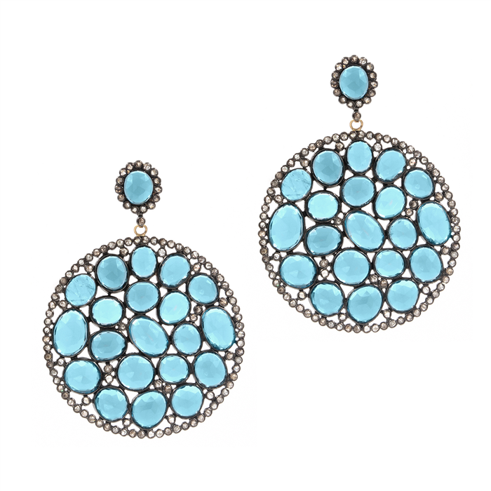 Marakesh Round Blue Topaz Earrings