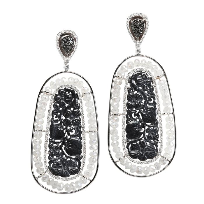 Black jade and Moonstone Earrings