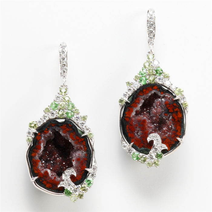 Druzy Earrings with Tsavorite