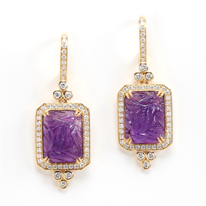 Carved Amethyst Earrings