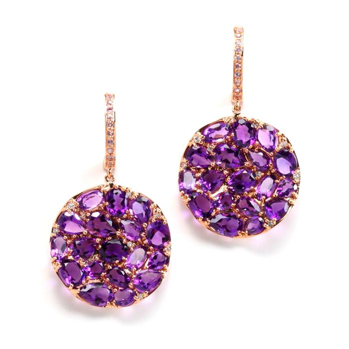 Round Petali earrings in Amethyst