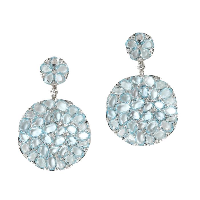 Round Petali DROP earrings in Blue Topaz