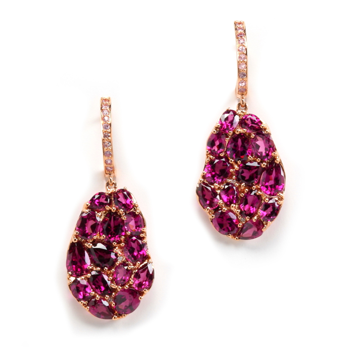 oval petali earrings in rhodolite garnet