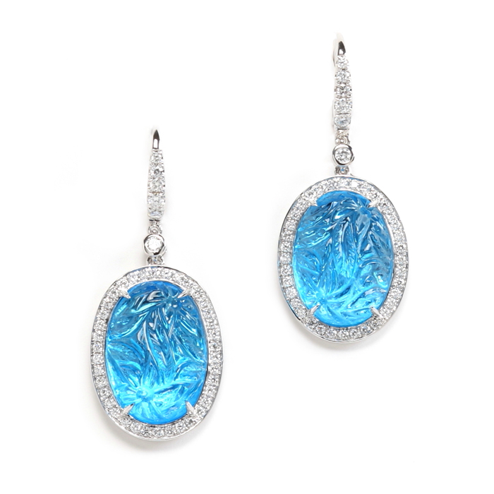 Oval Drop Carved Blue Topaz Earrings