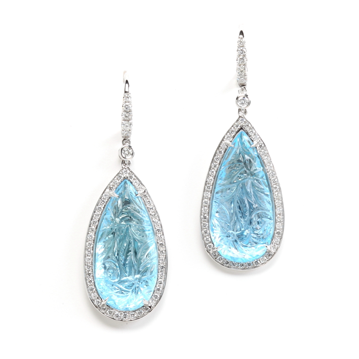 drop shape carved blue topaz earrings