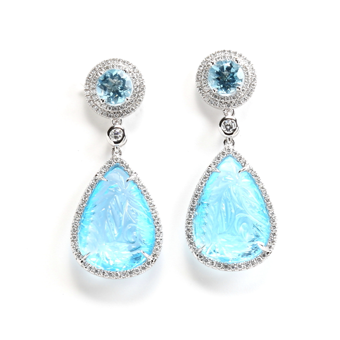 drop carved blue topaz earrings
