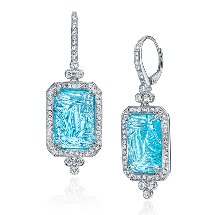 Square Carved Blue Topaz Earrings