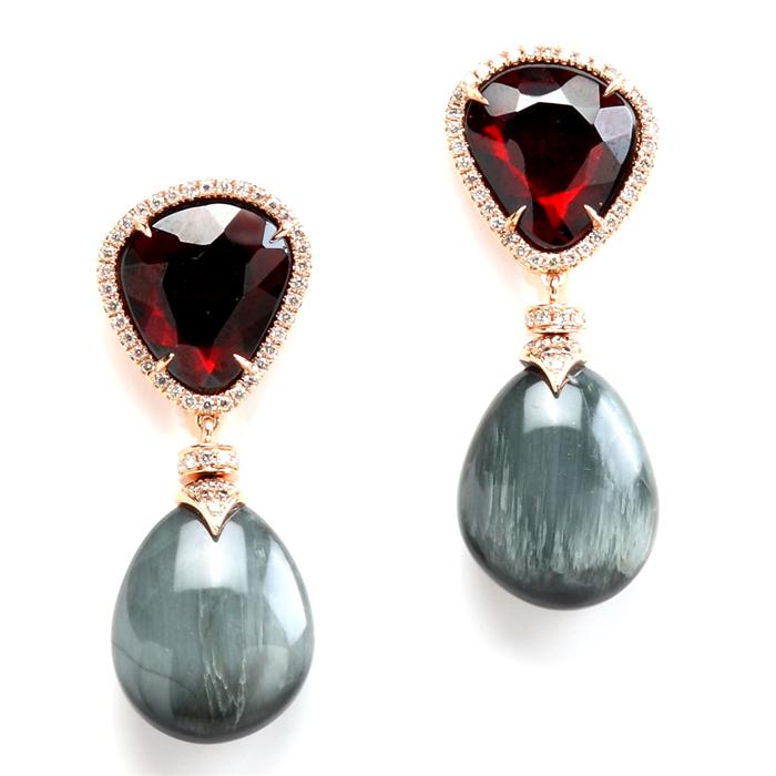 Garnet & Grey Moonstone Earrings