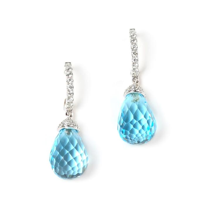 pETITE FACETED-CUT BLUE TOPAZ EARRINGS