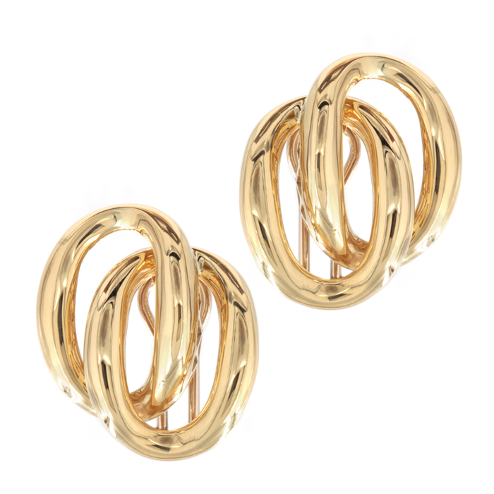 Double Oval Yellow Gold Earrings