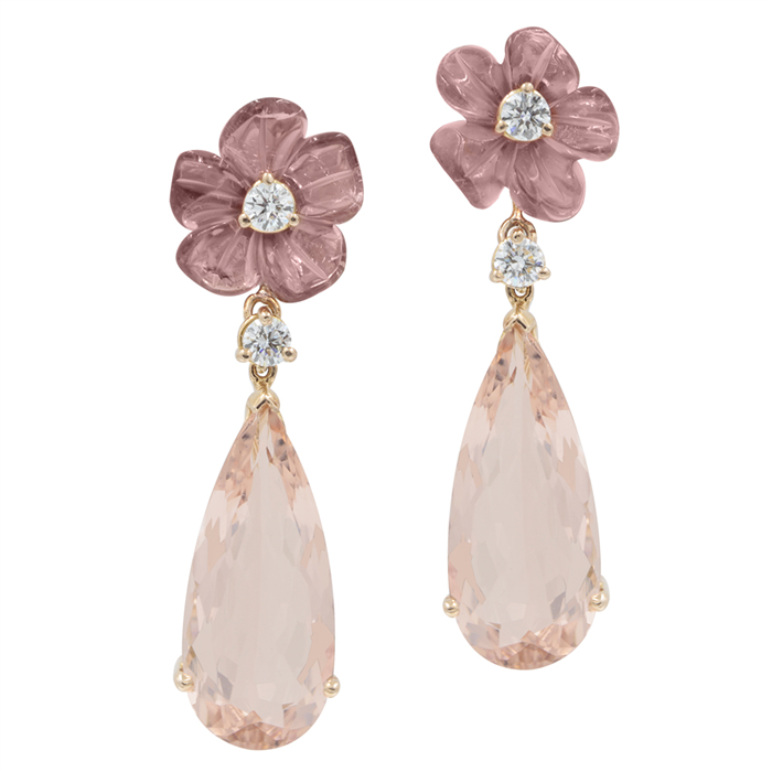 Tourmaline and Morganite Earrings