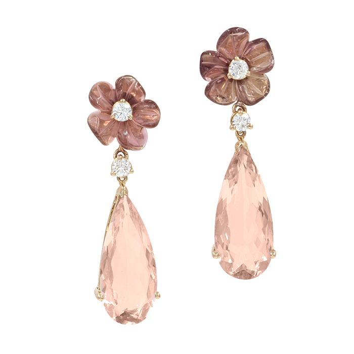 Flower and Morganite Earrings