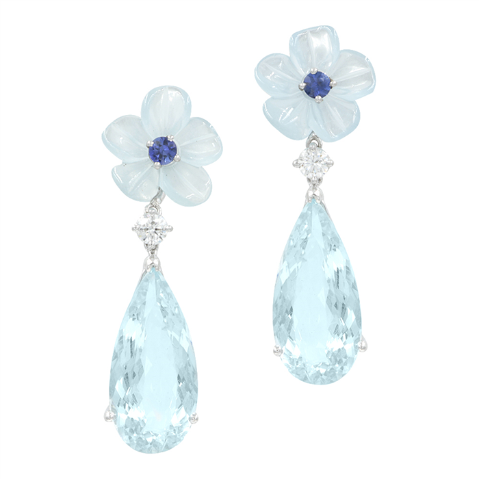 Aqua Carved Flower Earrings