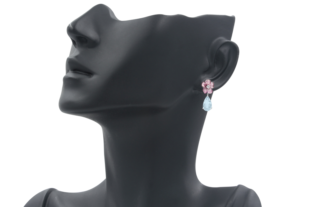 pink tourmaline and Aquamarine Drop Earrings