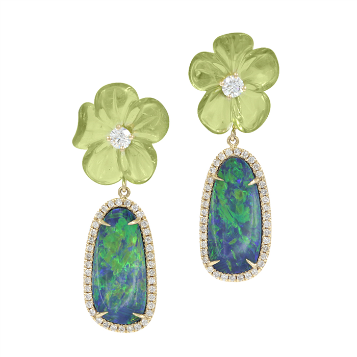 Carved Peridot Flower & Opal Earrings