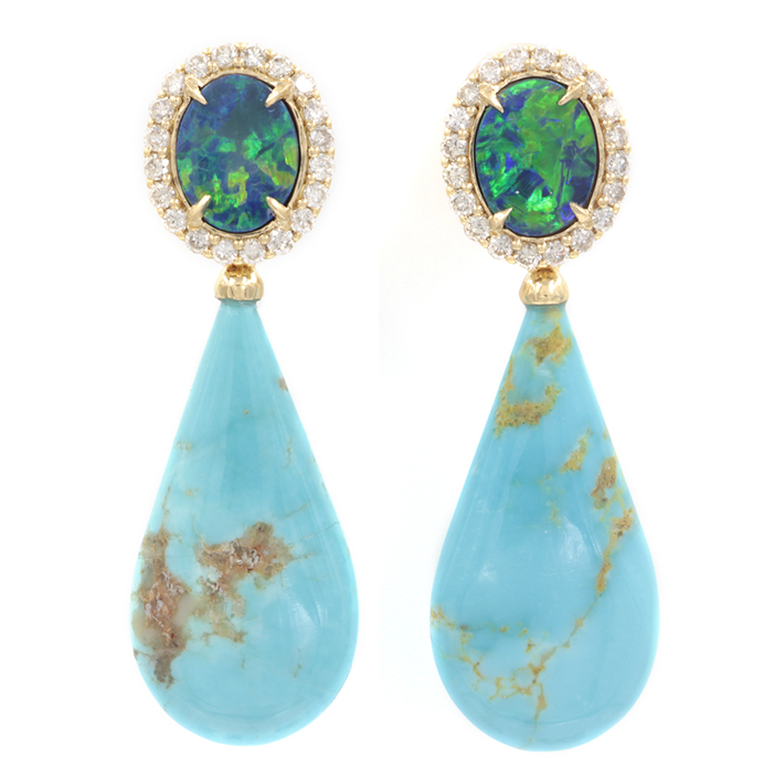 Versatile Turquoise & Opal Earrings