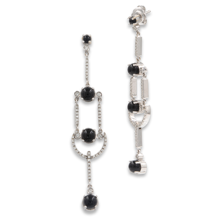 Dangling Black Agate Earrings