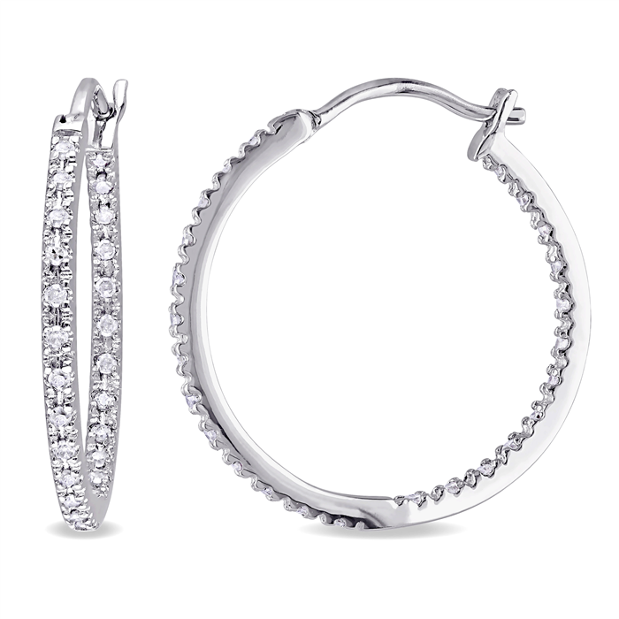 Sterling Silver Diamond Hoops
