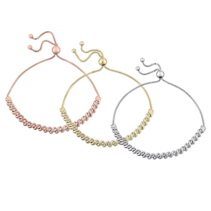 Sterling Silver Diamond Bolo Bracelets