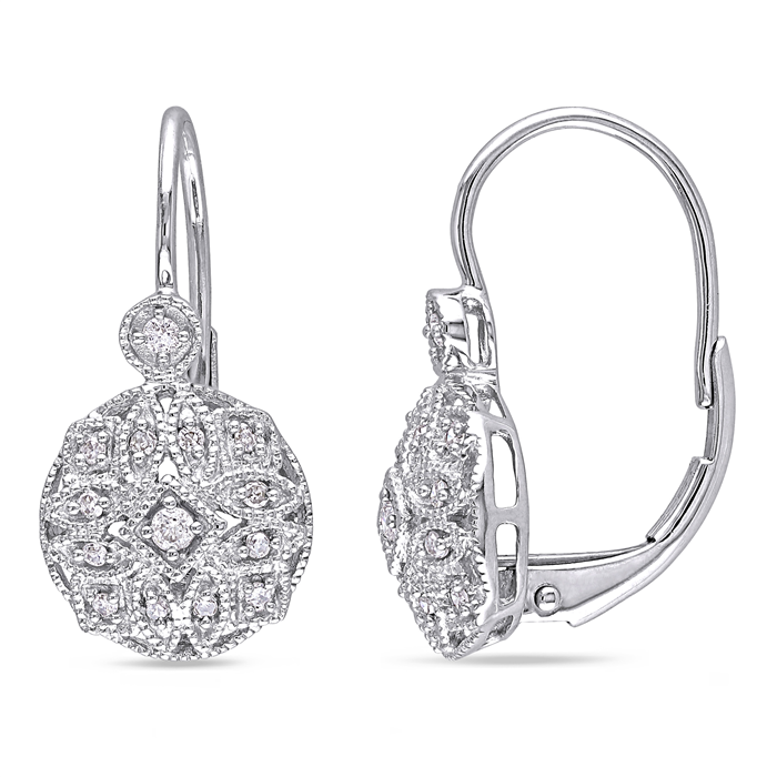 Vintage Style Earrings in white gold