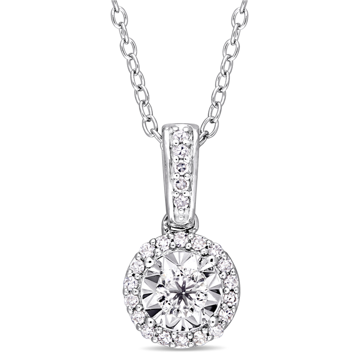 0.20CTW Diamond Halo Sterling Silver Necklace