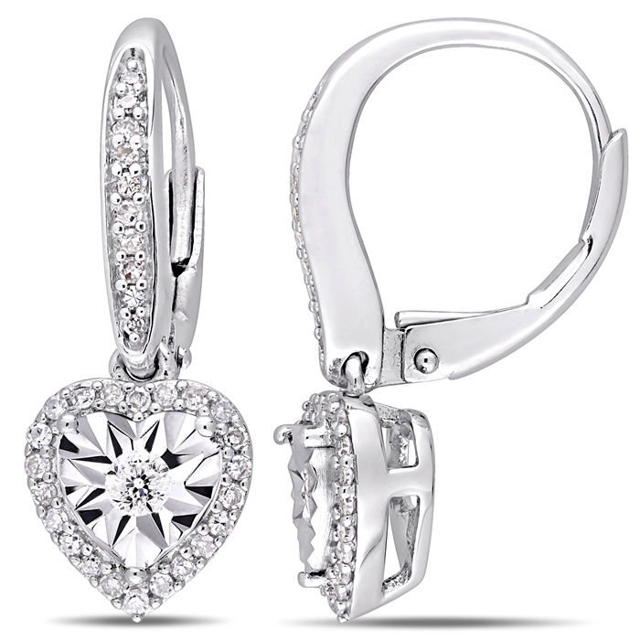 0.33ctw diamond halo heart sterling silver earrings