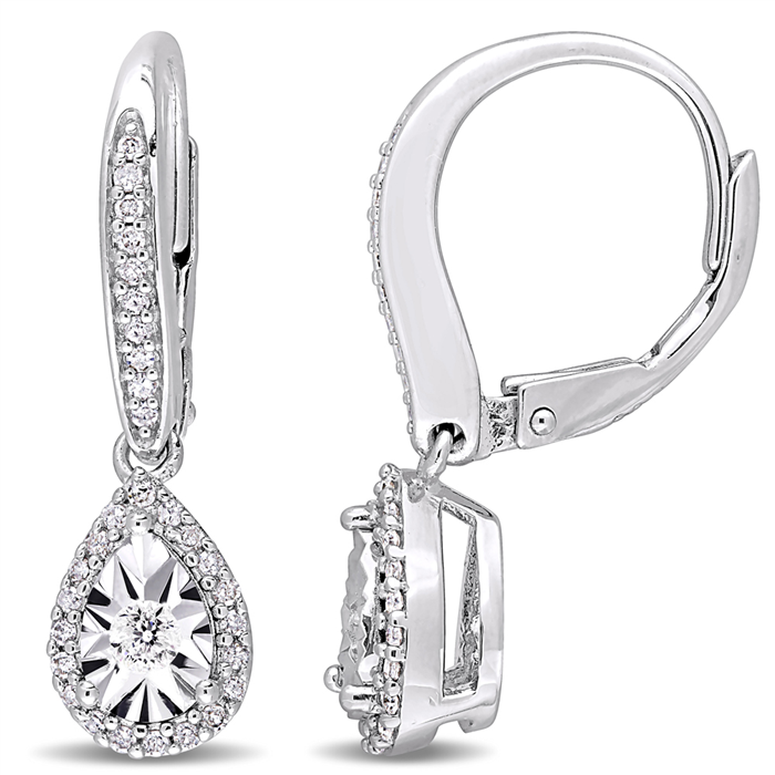 0.33ctw diamond teardrop sterling silver earrings