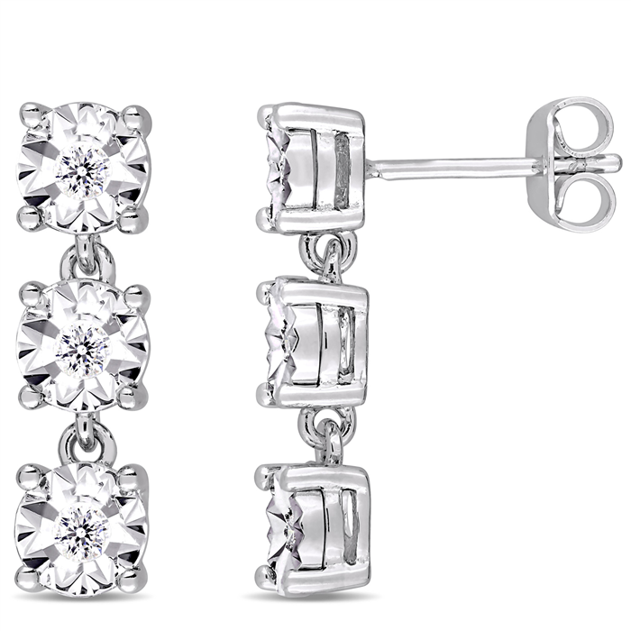 Diamond Drop Earrings in Sterling Silver