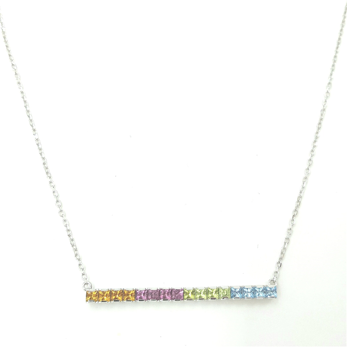 Multi Gemstone Bar Necklace in White Gold