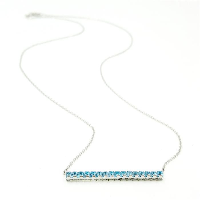 Blue Topaz Bar Necklace