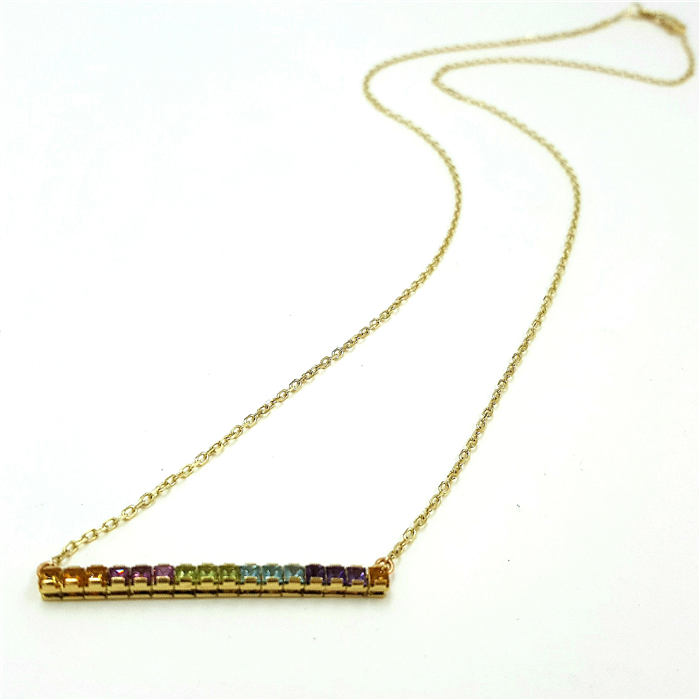 Multi Gemstone Bar Necklace in Yellow Gold