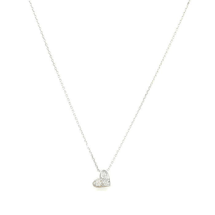 Floating Diamond Heart Pendant Necklace