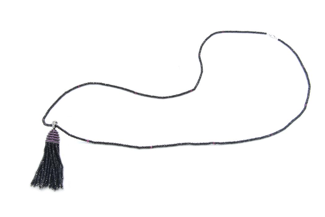 Black Spinel tassel & Ruby Necklace