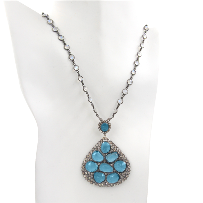 Marakesh Blue Topaz Pendant Necklace