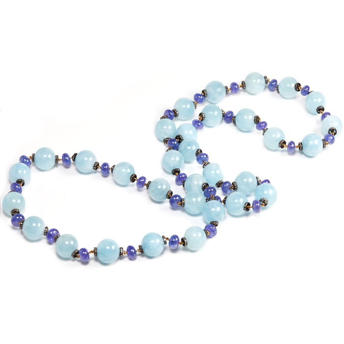 Aqua and tanzanite necklace