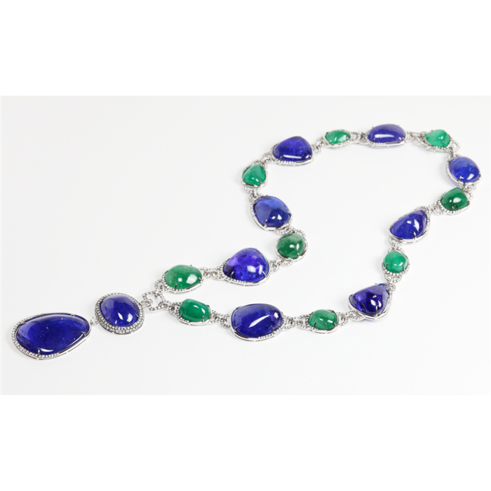 Tanzanite and Emerald Necklace