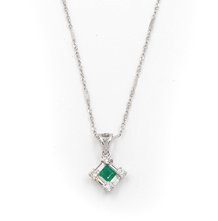 Petite Emerald & Diamond Necklace