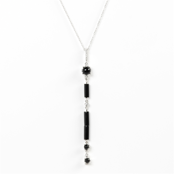 Black Agate Stick Pendant Necklace