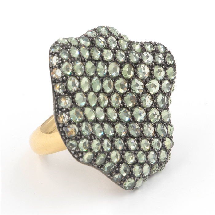 Green Sapphire Abstract Ring