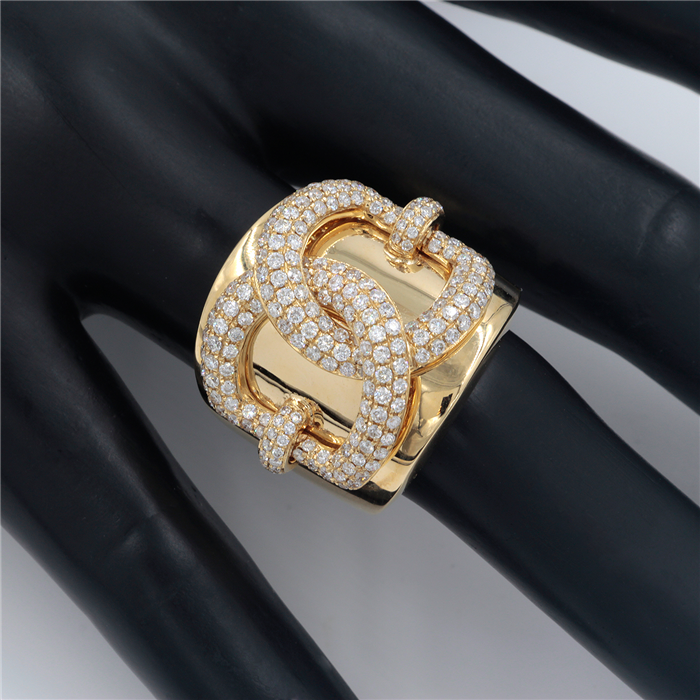 Yellow Gold Diamond Link Ring